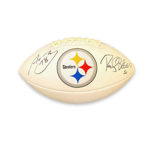 Alejandro Villanueva and Rocky Bleier Dual Signed Pittsburgh Steelers White Logo Football