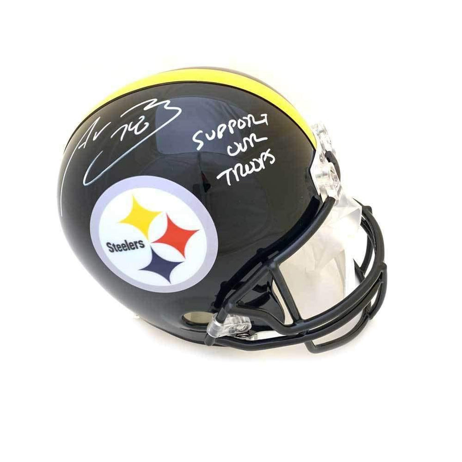 Alejandro Villanueva Signed Pittsburgh Steelers Full Size Helmet with Support Our Troops