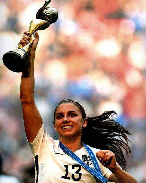 Alex Morgan with Trophy Unsigned 8x10 Photo
