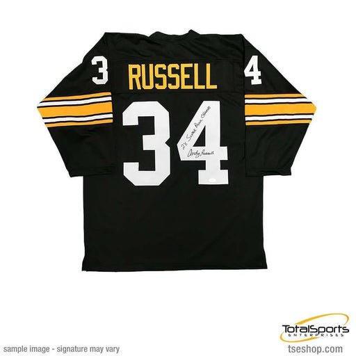 Andy Russell Autographed 3/4 Sleeve Black Custom Jersey Insc. 2X SB Champs