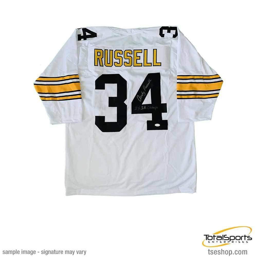 Andy Russell Autographed 3/4 Sleeve White Custom Jersey Insc. 2X SB Champs
