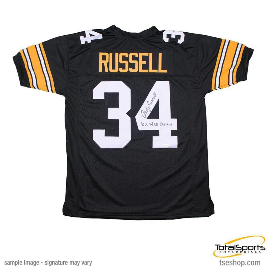 Andy Russell Autographed Black Custom Jersey Insc. 10X Team Captain