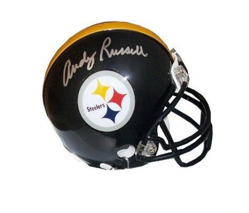 Andy Russell Autographed Pittsburgh Steelers Black Mini Helmet