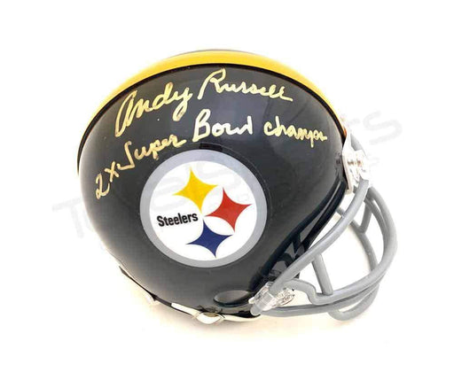"Andy Russell Autographed Pittsburgh Steelers Black Mini Helmet with ""2X Super Bowl Champs"""