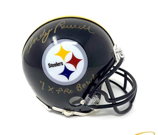 Andy Russell Autographed Pittsburgh Steelers Black Mini Helmet with 7X Pro Bowl