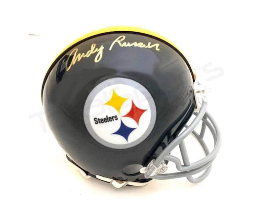 Andy Russell Autographed Pittsburgh Steelers Black TB Mini Helmet