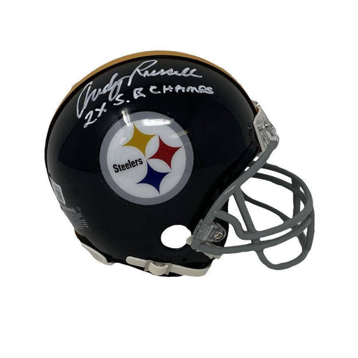 Andy Russell Autographed Pittsburgh Steelers Black TB Mini Helmet With 2X Sb Champ