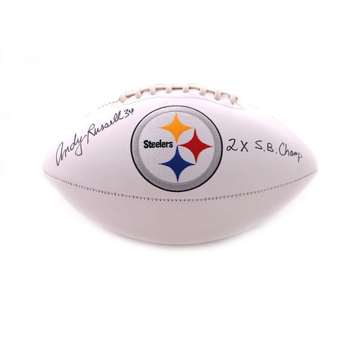 Andy Russell Autographed Pittsburgh Steelers White Logo Football with 2X SB Champs