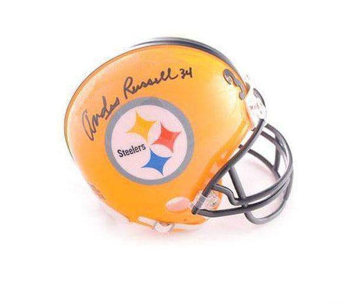 Andy Russell Autographed Pittsburgh Steelers Yellow 75th Anniversary Mini Helmet