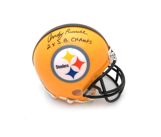 Andy Russell Autographed Pittsburgh Steelers Yellow 75th Anniversary Mini Helmet 2X SB Champs