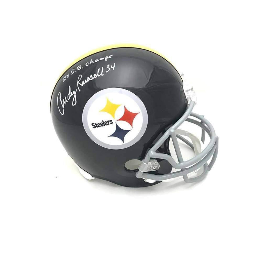 Signed STEELERS Helmets Andy Russell Signed Pittsburgh Steelers Full Sized Black Replica Helmet with 2X SB Champs