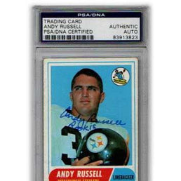 Andy Russell Signed Rookie Card Slabbed by Beckett