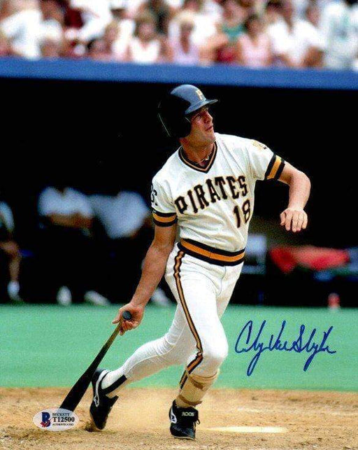 Andy Van Slyke Autographed Bat Down After Swing in Retro White 8x10 Photo