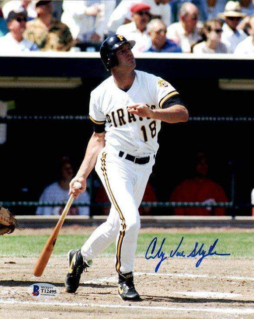 Andy Van Slyke Autographed Bat Down After Swing in White 8x10 Photo