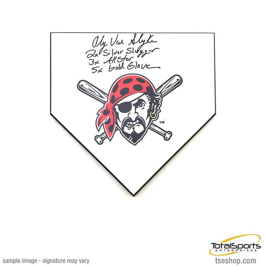 Andy Van Slyke Signed Mini Home Plate, Multi Inscribed