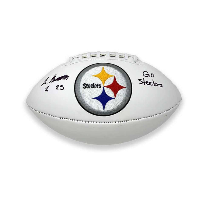 Antoine Brooks Signed Pittsburgh Steelers White Logo Footballs with FREE Go Steelers Inscription