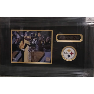 Antonio Brown Goal Post Leap Horizontal Unsigned 8x10 - Professionally Framed