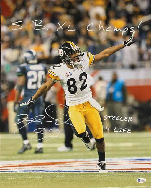 Antwaan Randle-El Autographed Airplane Celebration in SB 40 16x20 Photo with SB XL Champs and Steeler 4 Life