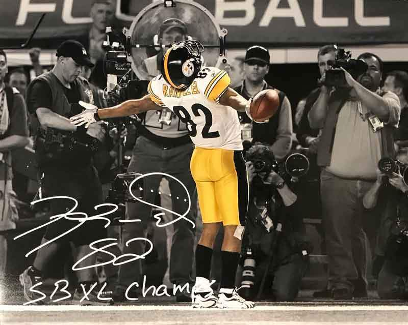 Antwaan Randle-El Autographed In Endzone Spotlight 8x10 Photo with SB XL Champs