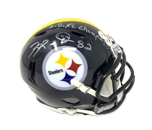 Antwaan Randle-El Autographed Pittsburgh Steelers Black SPEED Mini Helmet with SB XL CHAMPS