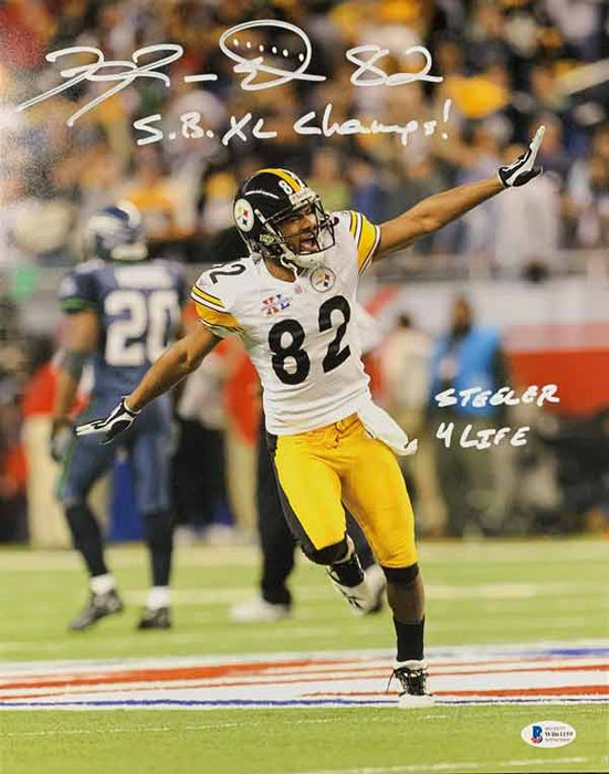 Antwaan Randle-El Autographed Running (Airplane) 11x14 Photo with SB XL Champs and Steeler 4 Life