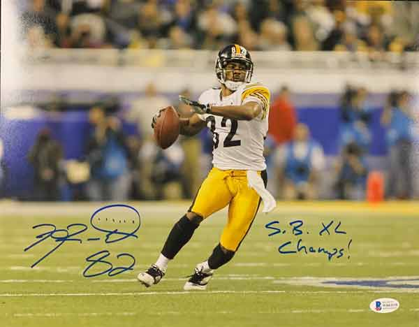 Antwaan Randle-El Autographed Throwing in SB 40 11x14 Photo with SB XL Champs (Blue Ink)