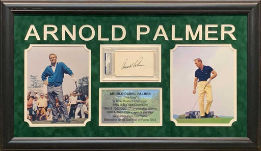 Arnold Palmer Cut Signature Beckett Slabbed with 2 8x10 Photos and Stat Display - Professionally Framed