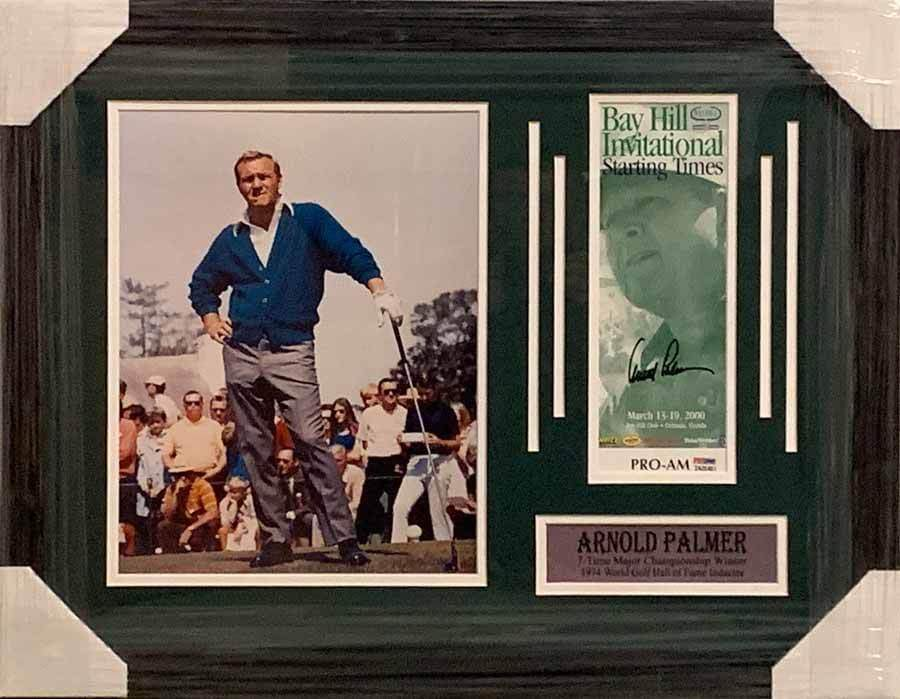 Arnold Palmer Signed Bay Hill Starting Times Brochure w/ 11x14 Standing on Tee Photo - Professionally Framed Default Title