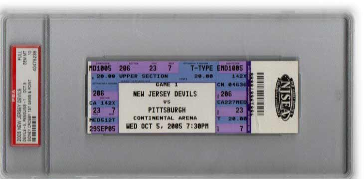 Authentic Ticket from Sidney Crosby's First Game Vs. New Jersey Devils (October 5th, 2005)