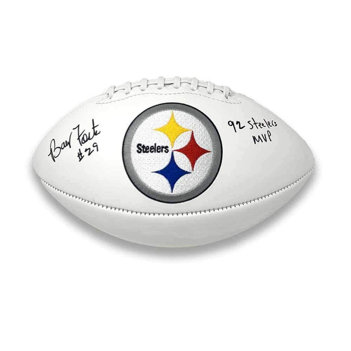 Barry Foster Autographed Pittsburgh Steelers White Logo Football with 92 Steelers MVP