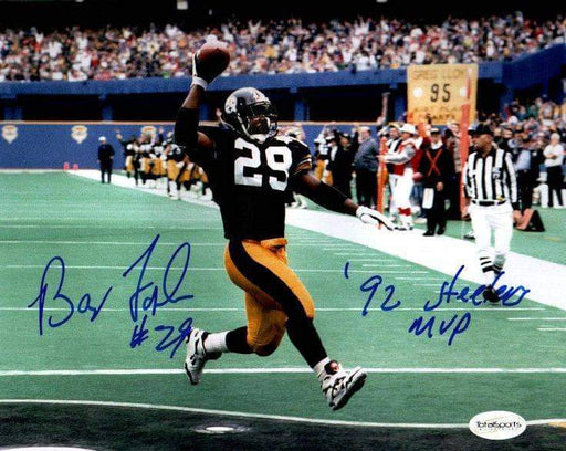 "Barry Foster Signed Scoring in Black 8x10 Photo with ""92 Steelers MVP"""