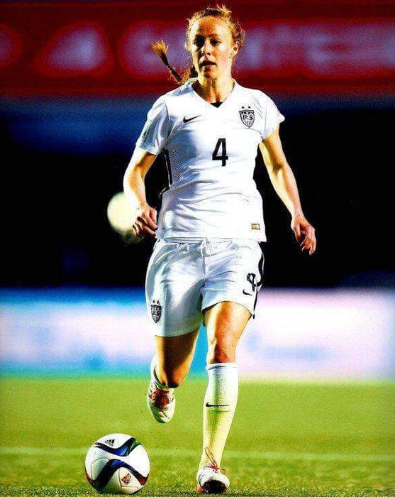 Becky Sauerbrunn in White Running with Ball Unsigned 8x10 Photo