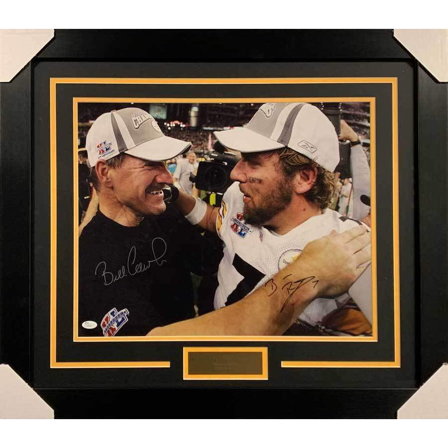 Ben Roethlisberger and Bill Cowher Dual Signed SB XL 16x20 Photo - Professionally Framed Default Title