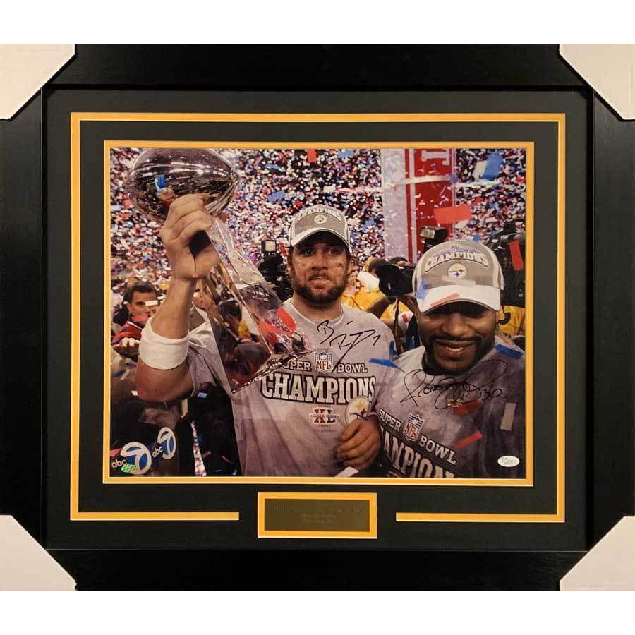 Ben Roethlisberger and Jerome Bettis Dual Signed SB XL 16x20 Photo - Professionally Framed Default Title