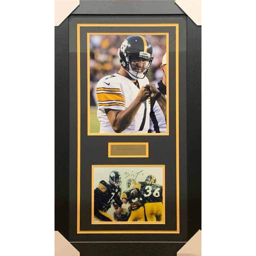 Ben Roethlisberger Signed Handing Off to Bettis 8x10 Photo with Pointing 11x14 Photo - Professionally Framed