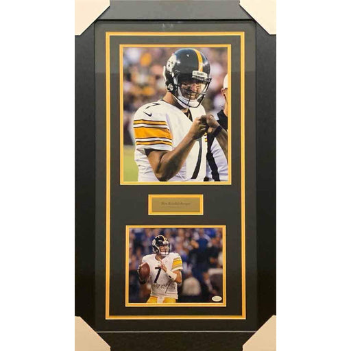 Ben Roethlisberger Signed Ready to Throw 8x10 Photo with Pointing 11x14 Photo - Professionally Framed
