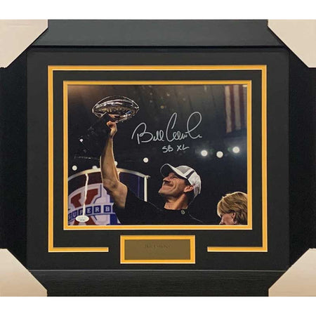 "Bill Cowher Signed Holding SB XL Trophy 11x14 Photo with ""SB XL"" - Professionally Framed"