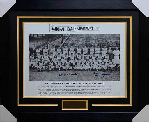 "Bill Mazeroski Autographed 1960 Pittsburgh Pirates Team 16x20 Photo with ""60 WS Champs"" - Professionally Framed"