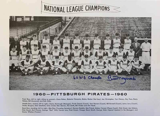 Bill Mazeroski Autographed 1960 Team Picture 16x20 Cardboard Photo with 60 WS Champs