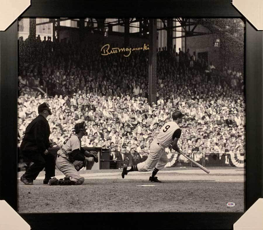 Bill Mazeroski Autographed 1960 World Series NEW Bat Down 20x24 Canvas - Professionally Framed Default Title