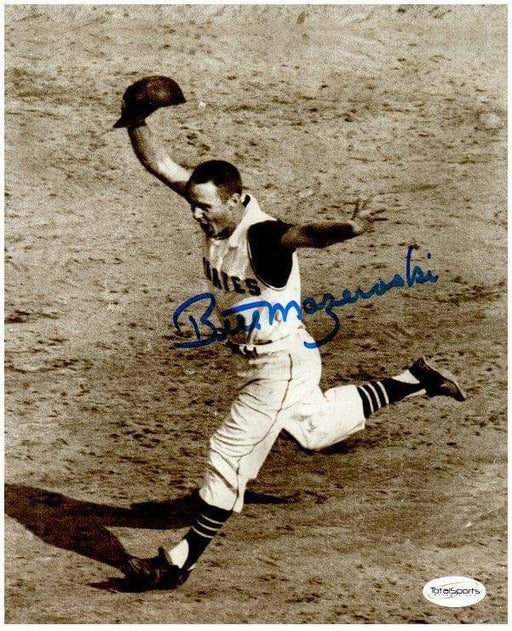 Bill Mazeroski Autographed 1960 World Series Running with Helm. in Hand Vertical 8X10 Photo