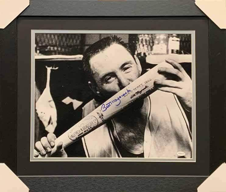 Bill Mazeroski Autographed Kissing Bat 16x20 Photo - Professionally Framed
