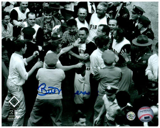 Bill Mazeroski Autographed Mobbed at Home Plate 8x10 Photo - Professionally Framed