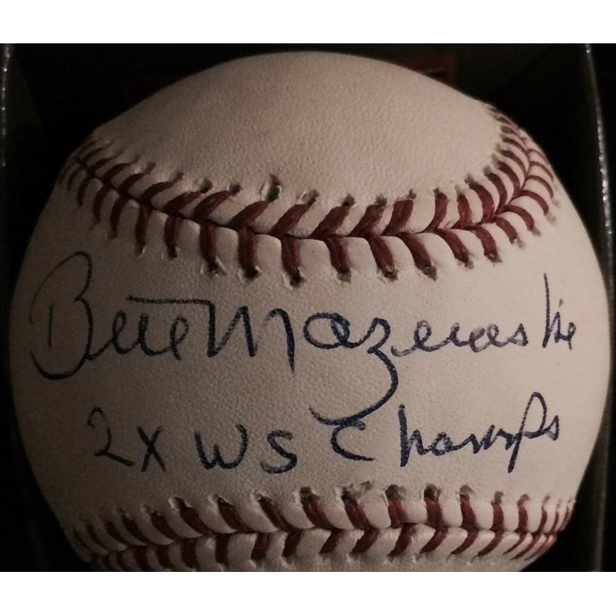 Bill Mazeroski Autographed Official Rawlings MLB Baseball with 2x WS Champs. Comes with JSA Hologram and COA