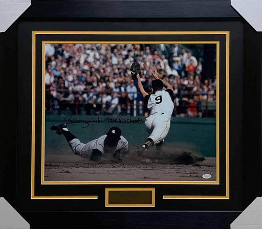 "Bill Mazeroski Autographed Plat at Second 16x20 Photo with ""1960 WS Champs"" - Professionally Framed"