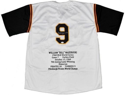 Bill Mazeroski Autographed White STAT Custom Jersey - with HOF01