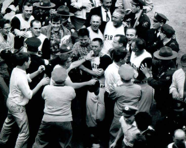 Bill Mazeroski Mobbed at Home Unsigned 8x10 Photo