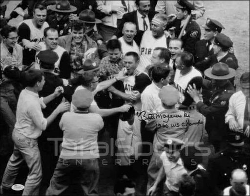 Bill Mazeroski Signed 1960 World Series Home Run Mobbed At Home Plate 16x20 Photo inscribed '1960 WS Champs'