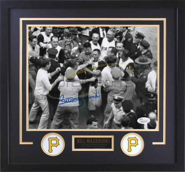 Bill Mazeroski Signed 1960 World Series Home Run Mobbed At Home Plate 20x24 Photo - Professionally Framed