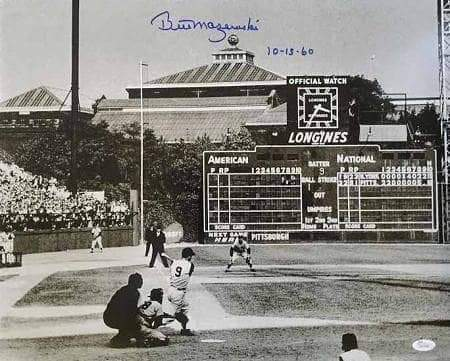 Bill Mazeroski Signed 1960 World Series Home Run Swing 11x14 Photo Inscribed '10-13-60'